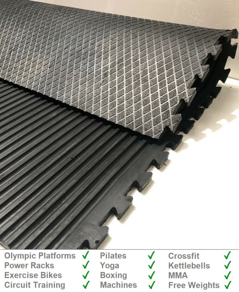 22mm Interlocking Diamond Top Rubber Gym Mat from Gym Mats Plus